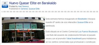 Pantalla del blog de axel Serena - inauguración centro ocio interactivo en Barakaldo, Vizcaya